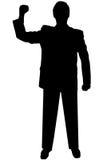 Uomo nero della siluetta su bianco Immagine Stock