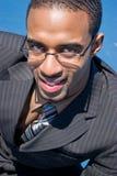 Uomo nero di affari Fotografia Stock