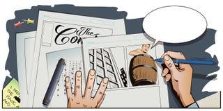 Uomo nudo dentro un barilotto Rovina e debiti illustrazione di stock