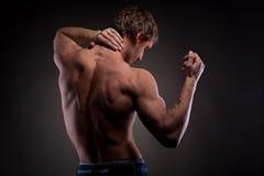 Uomo nudo muscolare dalla parte posteriore Fotografia Stock Libera da Diritti