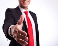 Uomo o allievo di affari pronto alla stretta di mano Fotografie Stock