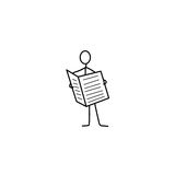 Uomo o figura del bastone con il giornale royalty illustrazione gratis