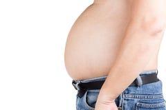 Uomo obeso con la grande pancia di sporgenza non sana Immagini Stock Libere da Diritti