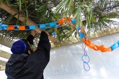Uomo ortodosso ebreo che decora un Sukkah Immagini Stock