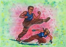 Uomo ostinato di lotta contro la donna (il potere delle arti marziali, 2014) illustrazione vettoriale