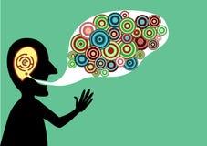 Uomo parlante con le buone idee Immagini Stock