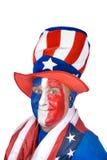 Uomo patriottico in costume che celebra 4 di luglio Fotografia Stock Libera da Diritti