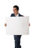 Uomo pazzesco con la scheda Immagine Stock
