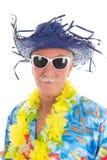 Uomo pensionato alla spiaggia Fotografia Stock Libera da Diritti