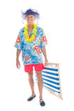 Uomo pensionato sulla vacanza Fotografia Stock