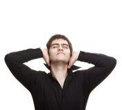 Uomo Pensive con gli occhi chiusi Fotografia Stock Libera da Diritti