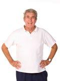 Uomo più anziano maturo che allunga durante il preriscaldamento Fotografia Stock Libera da Diritti