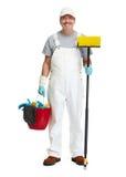Uomo più pulito con la scopa Fotografie Stock Libere da Diritti