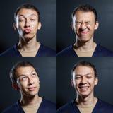 Uomo positivo di emozioni Fotografia Stock