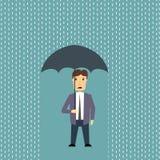 Uomo preoccupato in pioggia Fotografia Stock