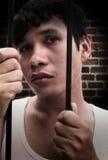 Uomo in prigione Fotografia Stock Libera da Diritti