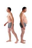 Uomo prima e dopo la dieta Fotografia Stock Libera da Diritti