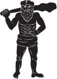 Uomo primitivo con una grande clava Fotografia Stock