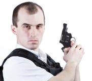 Uomo professionale con la pistola Fotografia Stock Libera da Diritti