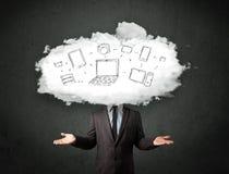 Uomo professionale di affari con la testa della rete della nuvola Fotografia Stock
