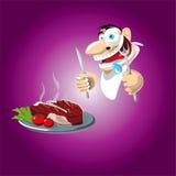 Uomo pronto da mangiare manzo di arrosto squisito Immagini Stock