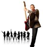 Uomo punk con la chitarra e la siluetta Fotografia Stock Libera da Diritti