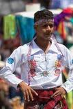 Uomo quechua nell'usura tradizionale Fotografie Stock