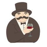 Uomo ricco con un bicchiere di vino Immagine Stock Libera da Diritti