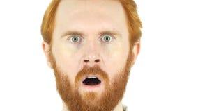 Uomo rosso domandantesi della barba dei capelli nella scossa, alto vicino del fronte Fotografie Stock