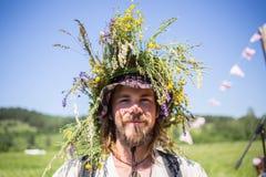 Uomo russo con la fisarmonica, agricoltore del Sud Fotografia Stock