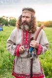 Uomo russo con la fisarmonica, agricoltore del Sud Fotografie Stock