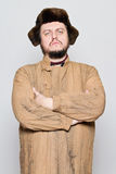 Uomo russo pazzesco con l'orecchio Fotografie Stock