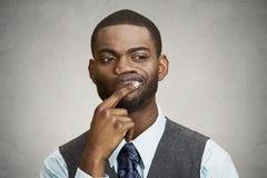Uomo scettico, confuso, pensando Fotografie Stock