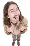 Uomo sciocco che mostra i pollici in su Fotografia Stock Libera da Diritti