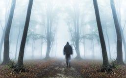 Uomo scuro di orrore in siluetta in foresta nebbiosa Fotografia Stock