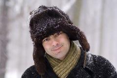 Uomo se cappello simile a pelliccia Immagini Stock