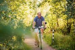 Uomo senior allegro che guida una bici in un parco un bello giorno soleggiato fotografia stock libera da diritti