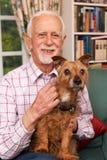 Uomo senior a casa con il cane di animale domestico fotografia stock libera da diritti