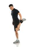 Uomo senior che allunga gamba Immagine Stock Libera da Diritti