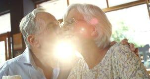 Uomo senior che bacia donna senior in caffè 4k archivi video