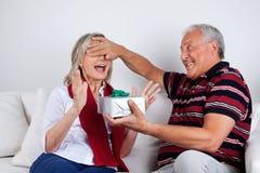 Uomo senior che dà regalo alla sua moglie immagine stock libera da diritti