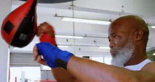 Uomo senior che perfora la borsa di velocità nello studio 4k di forma fisica video d archivio