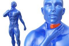 Uomo senior con irritazione di dolore al collo o della gola illustrazione 3D Immagine Stock