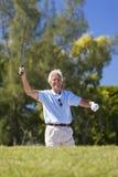 Uomo senior felice che gioca golf fotografie stock