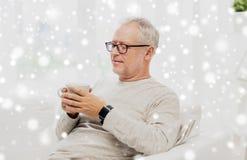 Uomo senior felice con la tazza di tè a casa Fotografia Stock Libera da Diritti