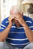 Uomo senior pensionato infelice che si siede su Sofa At Home Fotografia Stock Libera da Diritti