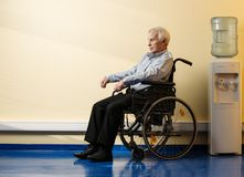 Uomo senior premuroso in sedia a rotelle Fotografia Stock Libera da Diritti