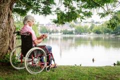 Uomo senior in sedia a rotelle immagini stock libere da diritti