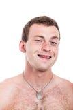 Uomo senza camicia divertente Fotografie Stock