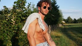 Uomo senza camicia muscolare del grosso pezzo all'aperto in campagna video d archivio